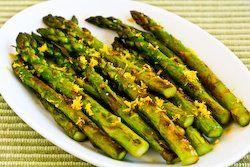 Recipe for Pan-Fried Asparagus Tips with Lemon Juice and Lemon Zest @Kalyn's Kitchen
