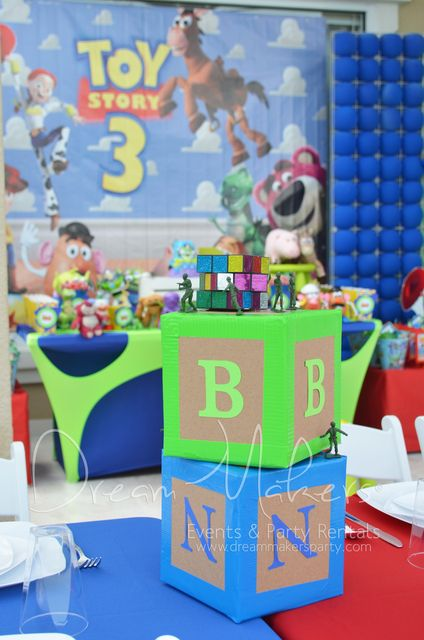 Cute centerpiece at a Toy Story party!  See more party ideas at CatchMyParty.com!  #partyideas #toystory