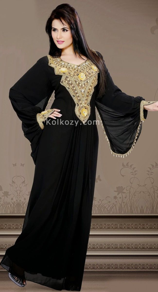Elegant Drape Is Perfect For Any Occasion Keep Ahead In Fashion With This scintillating Black Color Faux Georgette #Fashionable #Kaftan.