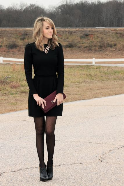 black dress with tights and booties