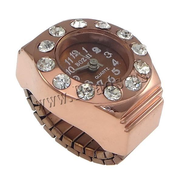 montre de bague, avec verre, Plaqué de couleur d'or rose