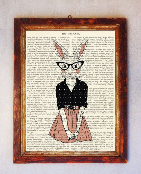 Rabbit female Art Print Rabbit with Glasses Print Rabbit