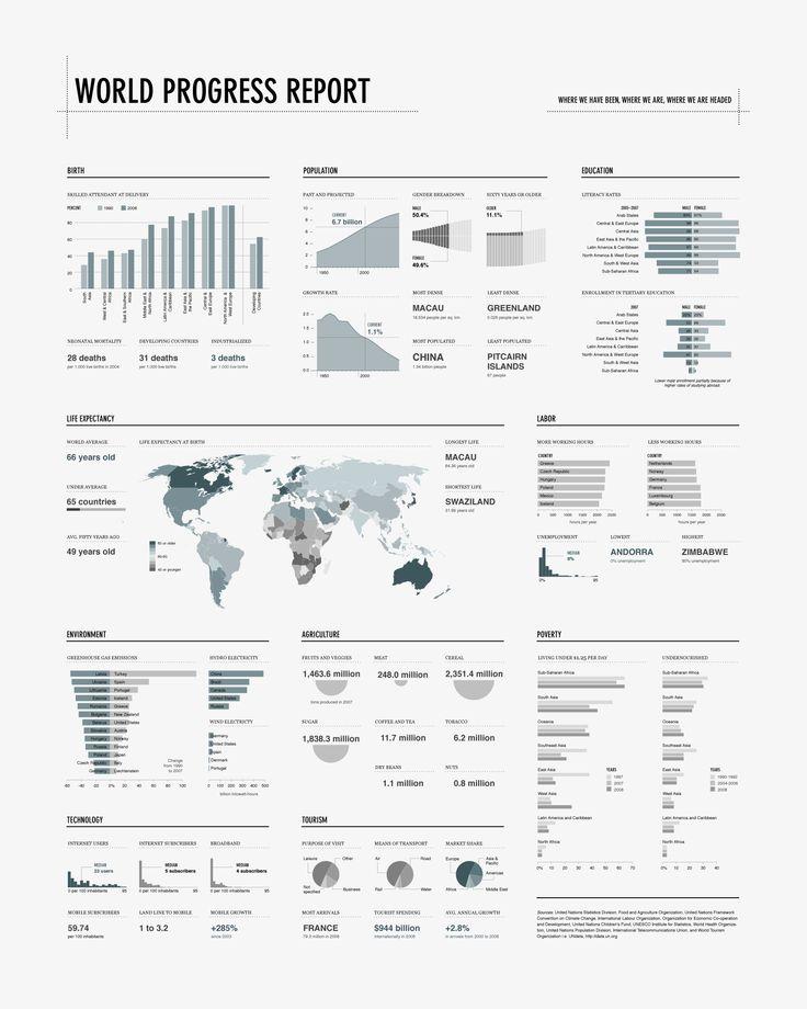 Info-graphic: World Progress Report (Nathan Yau - 2008)