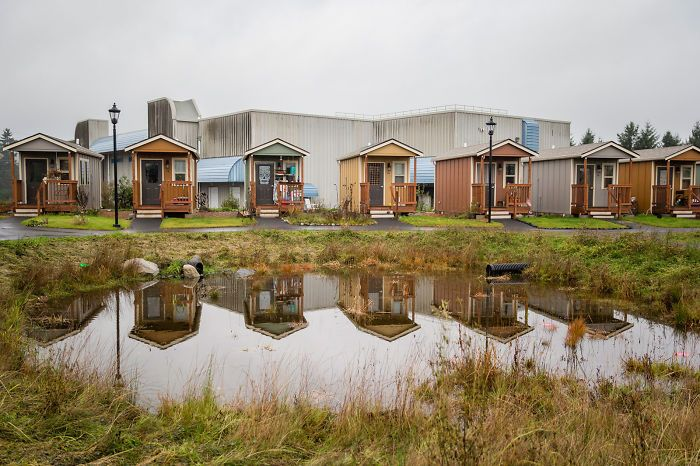 one city decided to build 50 tiny houses for homeless veterans so