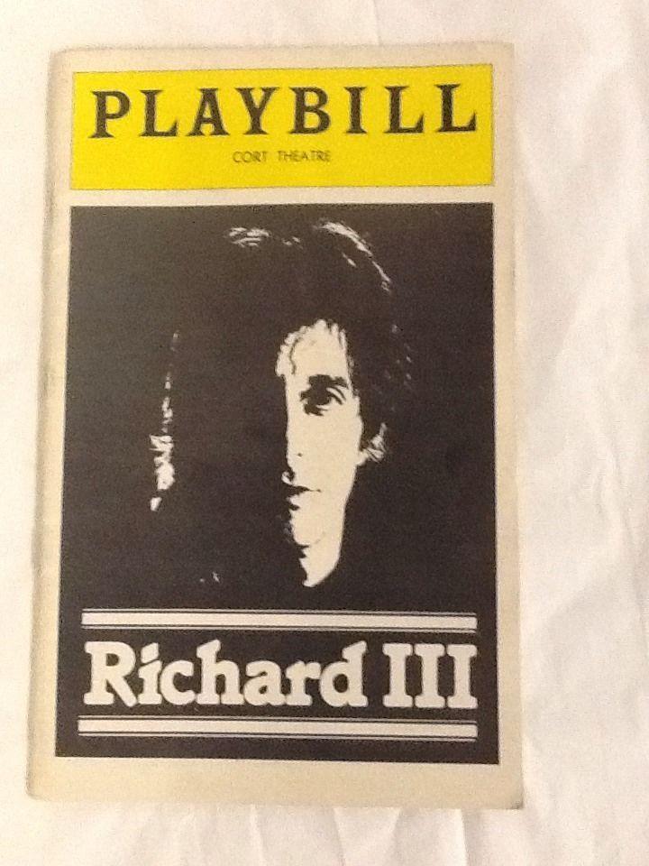 King Richard III Al Pacino Playbill 1979
