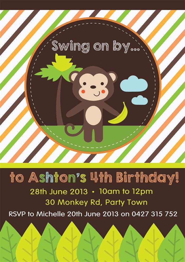 Personalised monkey noy boys birthday invitations invites in 24 Hours or FREE!