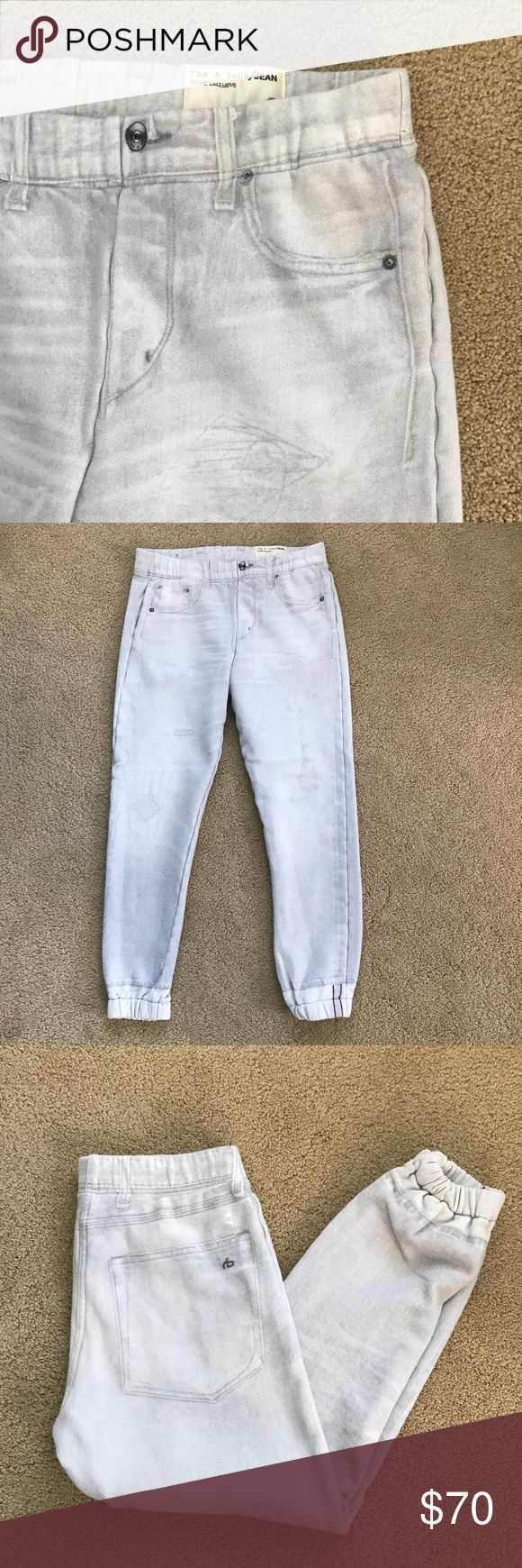 Rag & Bone painted jeans jogger ankle pants Like new condition. Worn twice. Washed once. The pockets zipper buttons are all painted. There are pained distress throughout. Super comfortable. It's not thin. It's made of heavy cotton 100% cotton. Sz S. rag & bone Pants Track Pants & Joggers