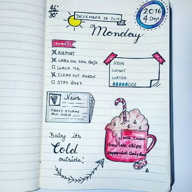 Last days in my old #journal !! Can't wait to get rid of this lined paper even though I will miss the cover. #doodles #bujocommunity #bujo #planner #planneraddict #hotcocoa #peppermintmocha #todo