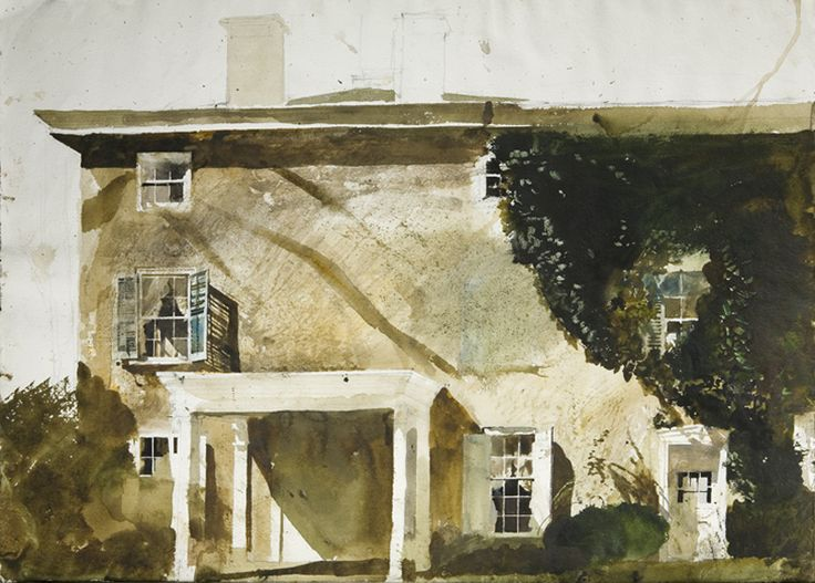 Artist:  Andrew Wyeth    Title: The Hatton House    Medium: Watercolor on paper…