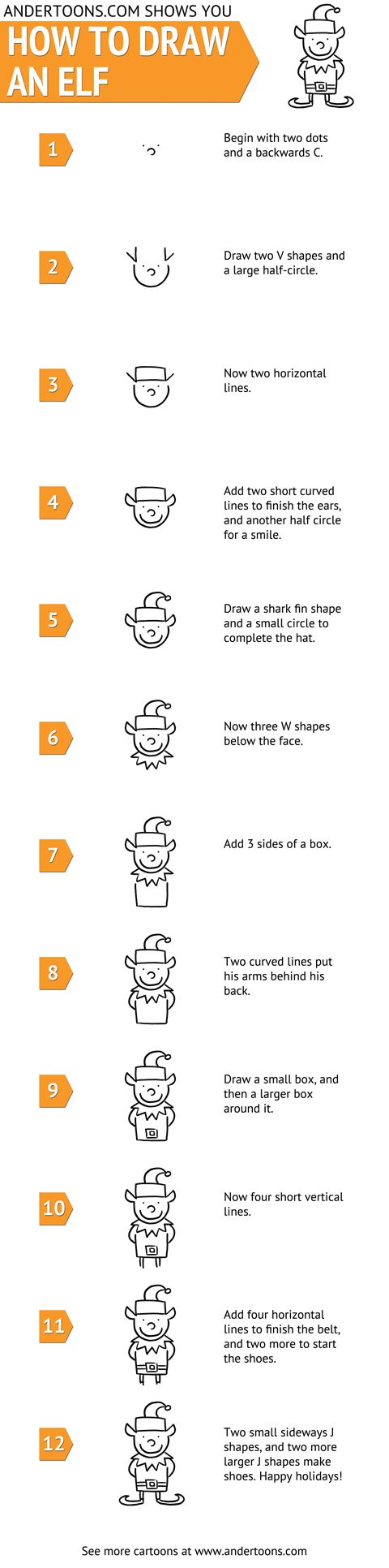 how to draw an elf easy