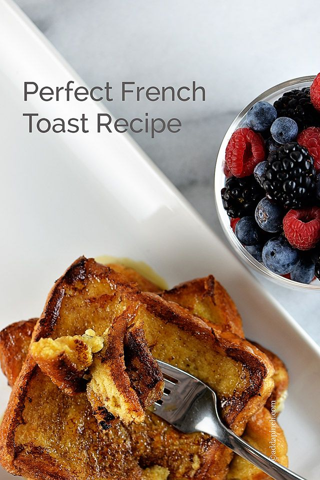 This French toast recipe is the easiest and most delicious I've ever tasted! Perfect for a delicious breakfast, brunch or breakfast for supper! // addapinch.com