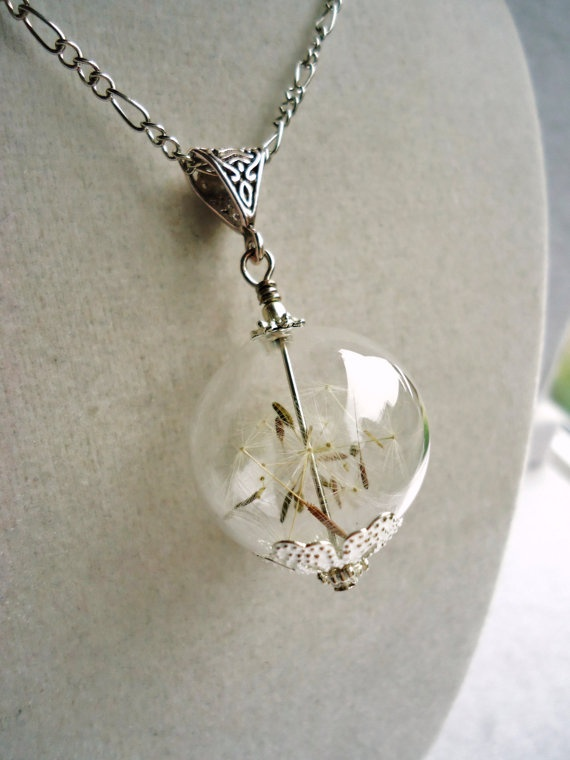 Real Dandelion Seed Glass Orb Necklace. LOVEEE!!