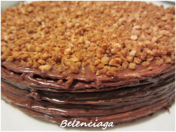 Tarta de obleas y Nocilla o Nutella