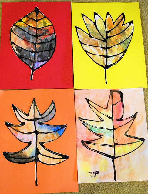 Fall leaf art using black glue and watercolors