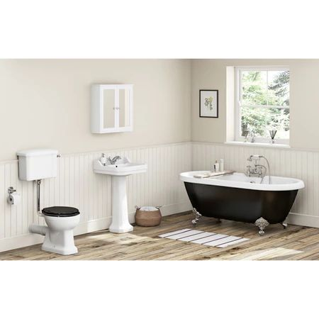 Victoria Plum, The Bath Co. Camberley close coupled toilet and 2 tap hole full pedestal basin 610mm