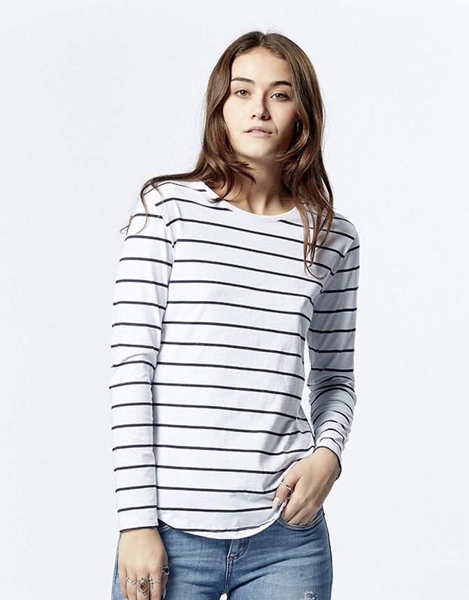 casa kuma - Saddle Hem Long Sleeve Stripe