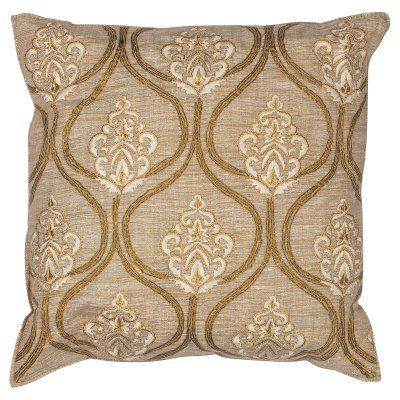 KAS Rugs Gold Damask Decorative Pillow - PILL18218SQ