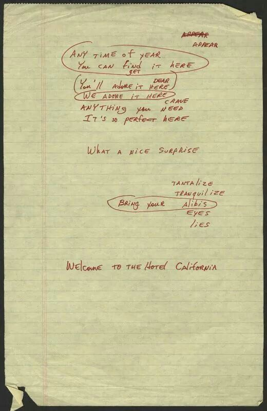 Original Hotel California lyrics in Don Henley's hand