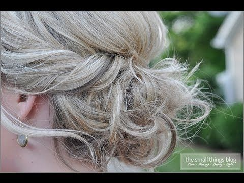 """Twisted Updo. A simple 3 step DIY hairstyle. It's loose (a little bohemian) but fancy enough for a wedding. [my notes: my hair is a little thinner than hers so what worked best for mine was to pin it up in loose """"rolls""""/loops crossing over each other so that it still looked undone]"""