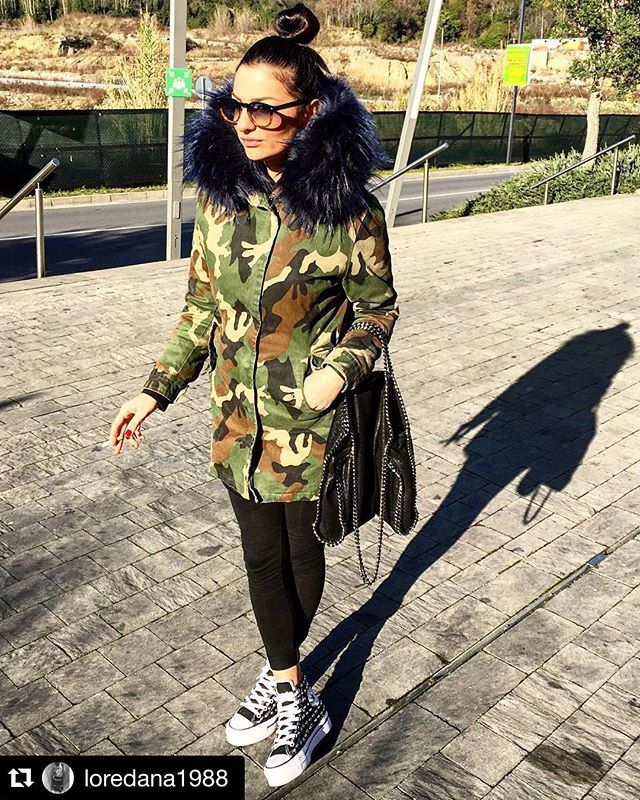ITALOGY LIFE parka camouflage ecofur, blue, blu elettrico, top. musthave