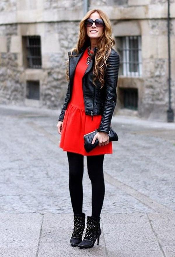 Love this outfit!!! black leather motorcycle jacket + red dress + black opaque tights + black ankle boots
