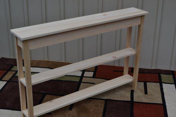 "Unfinished 36/"" EXTRA NARROW Shaker Square Edge Console Sofa Pine Table w Shelf"
