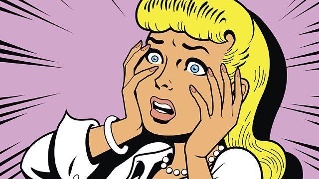 """Beeldmateriaal - De gezichtsexpressie van de vrouw wordt hier extra overdreven door de lijnen in haar gezicht maar ook de """"bewegingsstrepen"""" rondom haar. Deze kleine details voegen dus extra 'drama' toe in een stilstaand beeld.  p03z0v23.jpg (640×360) 20686795-Ironic-Satirical-Illustration-of-a-Retro-Classic-Comics-Woman-Being-a-Drama-Queen"""