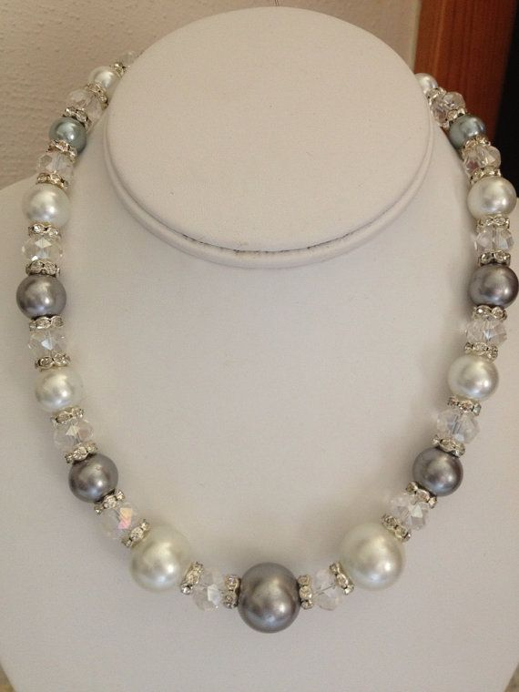 Large Pearl and Swarovski Necklace on Etsy, $25.00