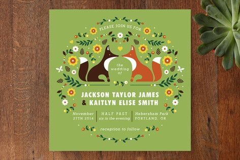 Woodland Wedding Invitations by Kristen Smith at minted.com