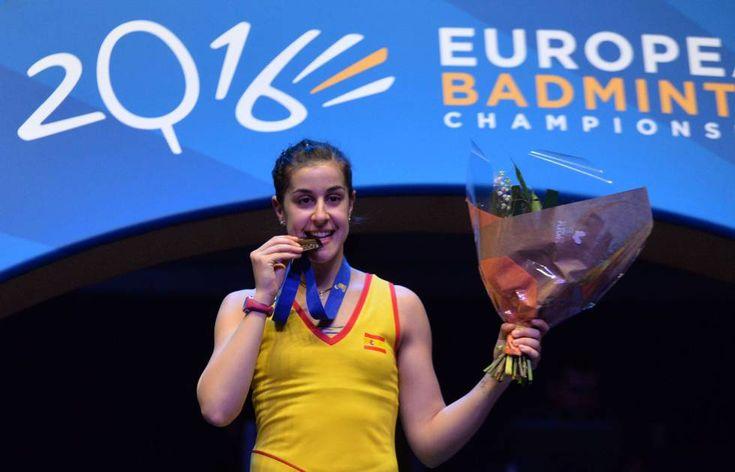Carolina Marín bicampeona de Europa de bádminton