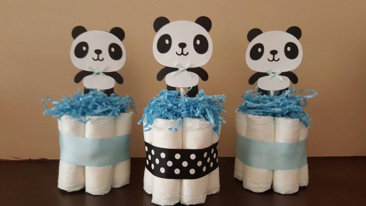 3 Light blue and black Panda theme mini diaper cakes, baby shower centerpiece, decoration by diapercake4less on Etsy https://www.etsy.com/listing/248874933/3-light-blue-and-black-panda-theme-mini