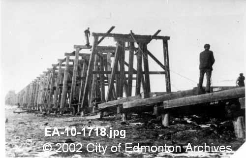 North Edmonton CNR Trestle 1910.   66st through to Fort Road.  Image Courtesy of Vintage Edmonton   https://www.facebook.com/TheVintageEdmonton