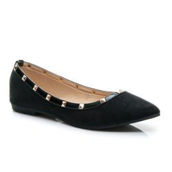 The charming ballerina with studs Women's Fashion toed ballerina neck.  The shore of the upper decorated with painting and gold studs.  The high heel is firmly foot in the shoe.  Very comfortable and neat.  Compatible with many styling.  Material: ecological suede https://cosmopolitus.eu/product-eng-42548-The-charming-ballerina-with-studs.html #Ballerina #shoes #fashionable #womens #classic #black #color #comfortable
