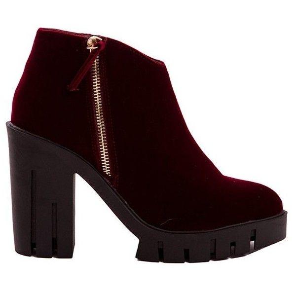 Burgundy Velvet Platforms (225 RON) ❤ liked on Polyvore featuring shoes, burgundy shoes, burgundy high heel shoes, zipper shoes, high heel platform shoes and platform shoes