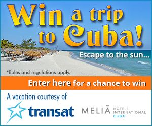 Win a trip for two to Varadero in Cuba courtesy of Vaccines411, Transat Holidays and the Melia Peninsula Varadero. A healthy dose of sunlight provides many benefits such as vitamin D, and boosted serotonin levels which help fight depression.