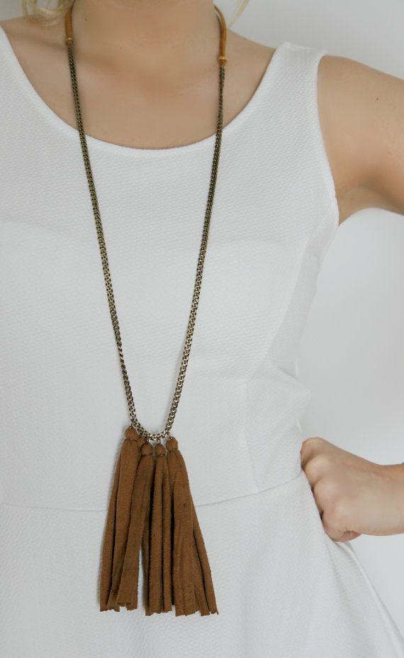 #Fringe #long #tassel #necklace #camel necklace by #NULIKA