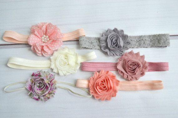 Shabby chic baby headband set of 6 headbands by MadisonBows