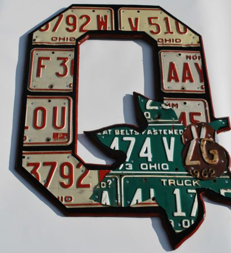 Block O Folk Fan Art License Plate Art Wall Hanging Ohio State Art Blk RD | eBay