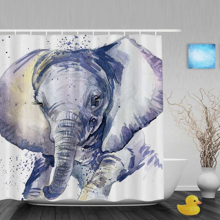 Watercolor Painting Elephant Shower Cutains Lovely Animals Decor Bathroom Shower Curtains Polyester Waterproof Fabric With Hooks