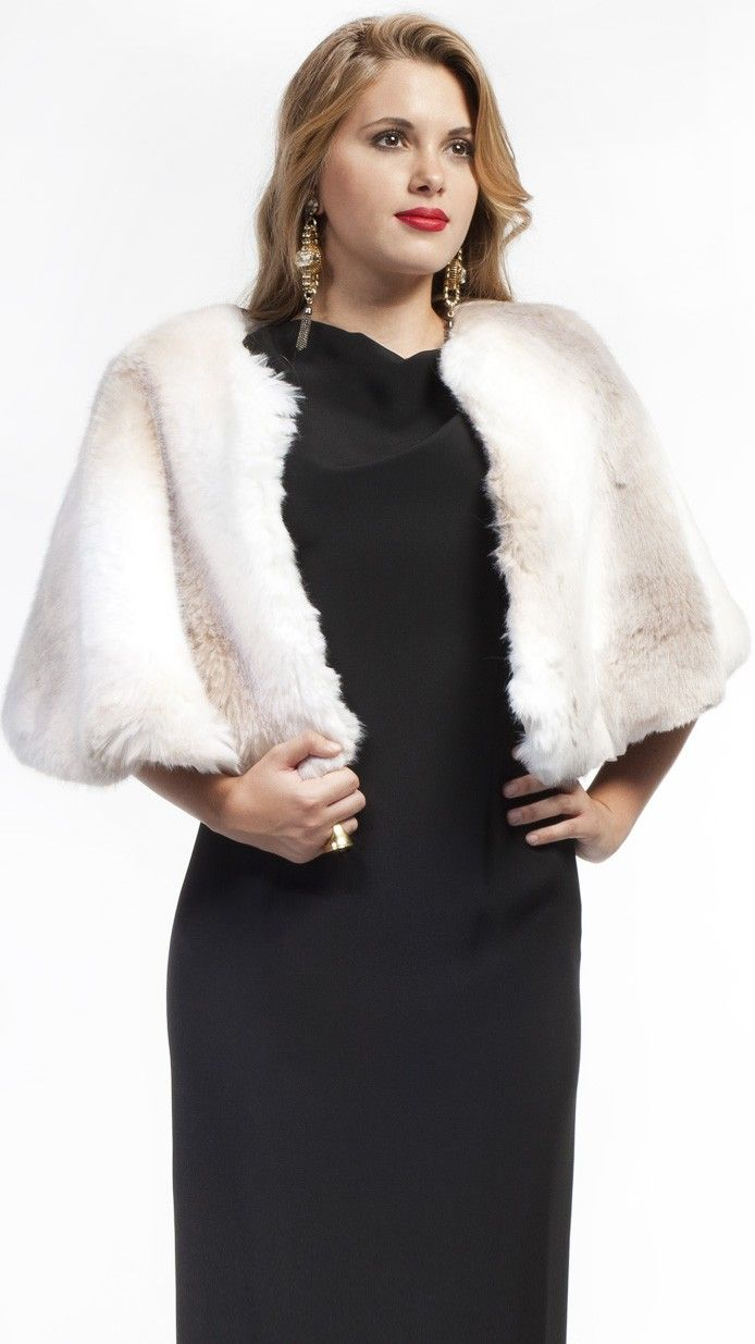 DRESSEOS - Capa de piel sintética blanco, perfecta para cualquiera de tus ocasiones - white faux fur jacket