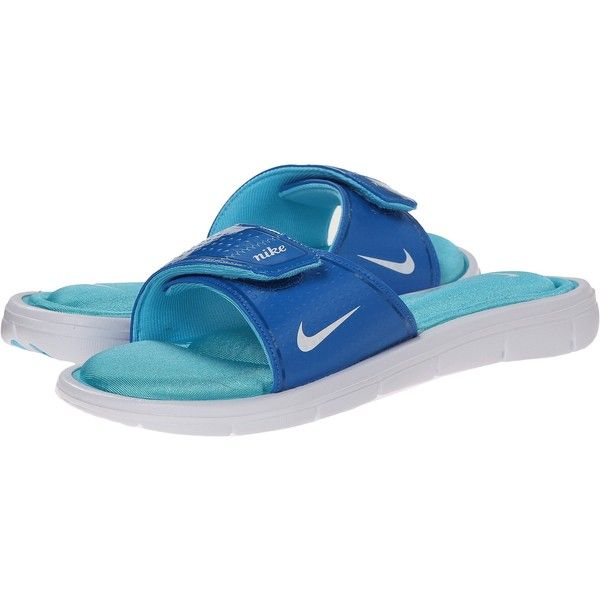 Nike Comfort Slide Women's Sandals, Blue ($31) ❤ liked on Polyvore featuring shoes, sandals, blue, blue shoes, memory foam sandals, nike shoes, traction shoes and nike sandals