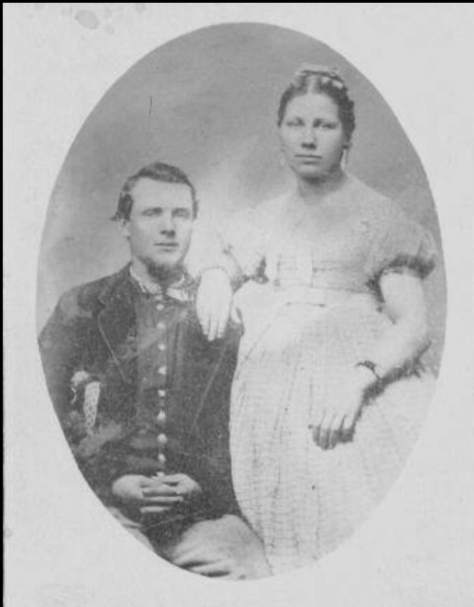Joseph Benton Sawyer, 2nd Michigan Cavalry, with wife Elmira. Read about his Civil War service here:  http://franklindescendants.wordpress.com/2013/06/06/joseph-benton-sawyer-co-i-2nd-michigan-cavalry/