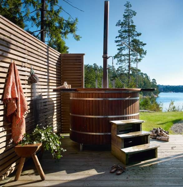 Outdoor wood fired hot tub spaces for me pinterest for Wood burning spa