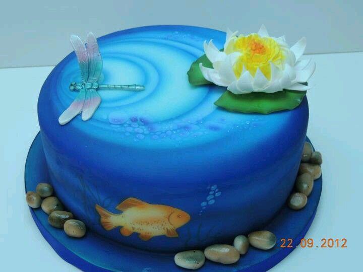 "pond cake for a ""pond"" party"
