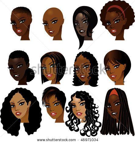 Vector Illustration of Black Women Faces. Great for avatars, makeup, skin tones…