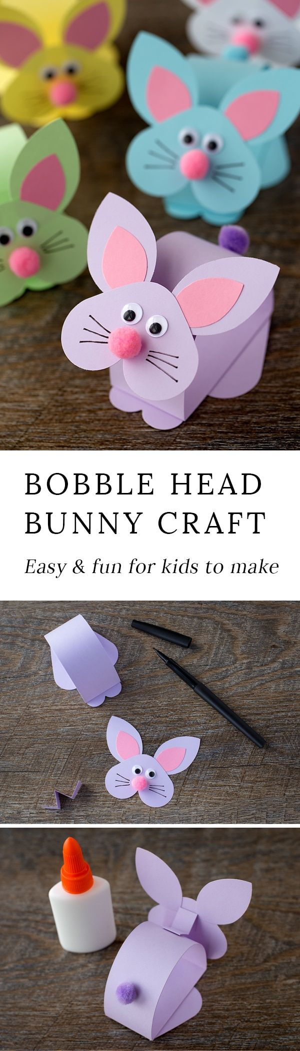 Just in time for Easter, kids of all ages will enjoy making an adorable paper bobble head bunny craft at school or home.