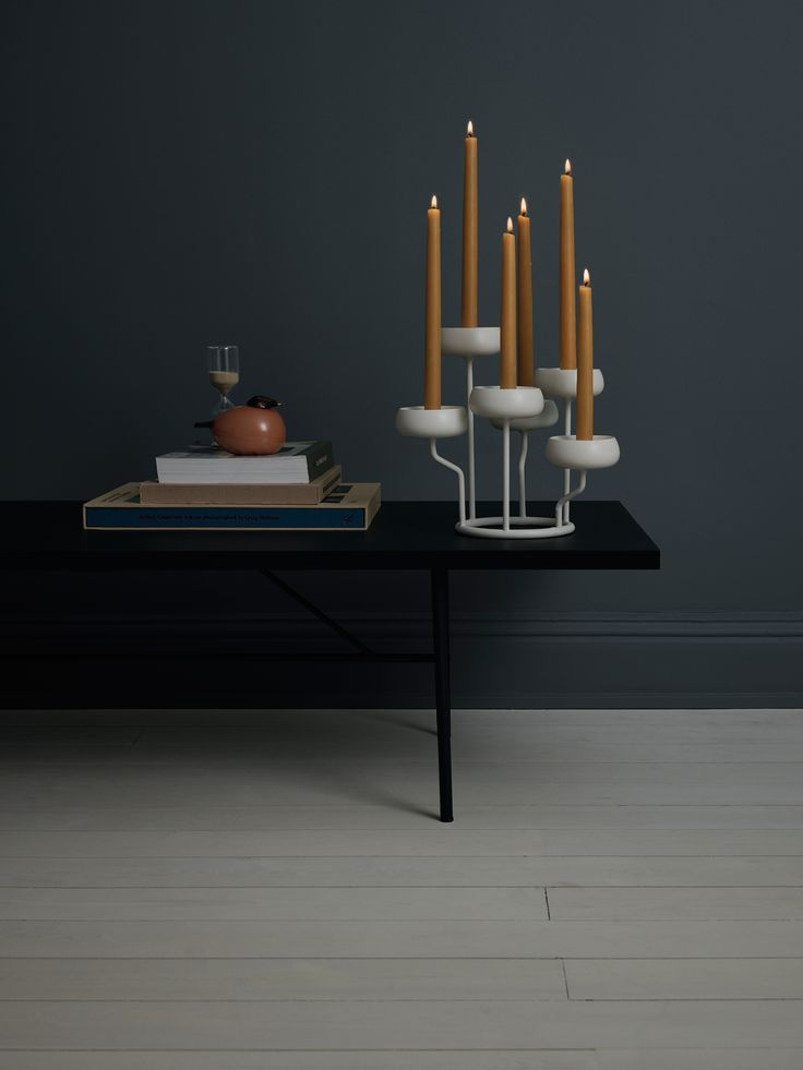 This six-armed Nappula candelabra by Matti Klenell is a table centrepiece, but also looks delightful on any surface that needs to be cheered up with a quirky accessory and a warm glow. Nappula holds tall candles or tiny tealights, or a combination of the two. It is made from white powder-coated steel and the arms all sit at varying heights giving the light a playful, ethereal quality.