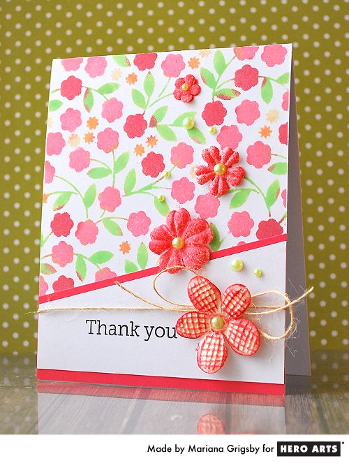 Superior Card Making Ideas With Flowers Part - 14: Stencil Sponging Hero Arts Cardmaking Idea: Floral Vines Thank You 2