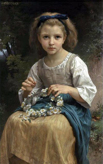 Child Braiding a Crown,1874 | Bouguereau | Private Collection