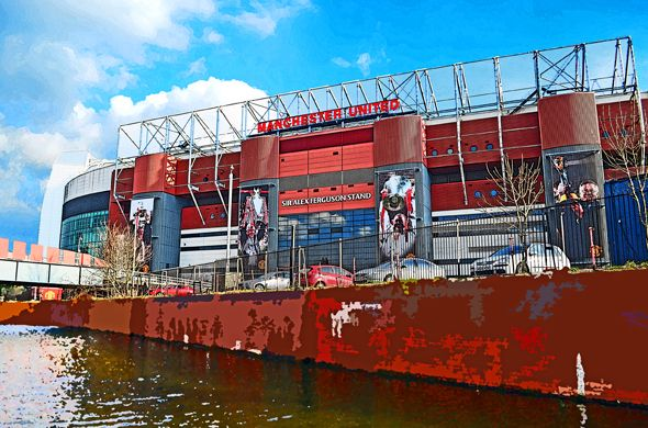 Sir Alex Ferguson Stand, Old Trafford, Manchester; home of Manchester United FC (pictured from the middle of the Bridgewater Canal)